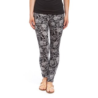 Women's Black and White Paisley Floral Legging