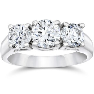 14k White Gold 1 3/8ct Three Stone Round Cut Lab Grown Diamond Engagement Ring (More options available)