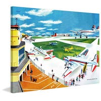 Marmont Hill 'Airport' by Curtis Painting Print on Canvas - Multi-color