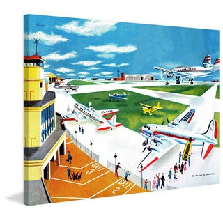 Marmont Hill 'Airport' by Curtis Painting Print on Canvas - Multi-color (2 options available)