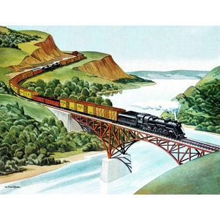 Marmont Hill 'Railway Bridge' by Curtis Painting Print on Canvas