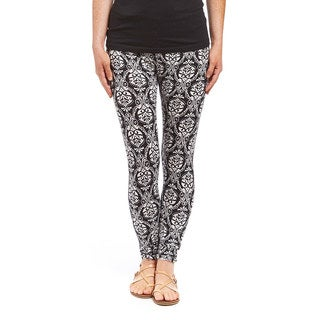 Women's Black and White Legging with Baroque Design