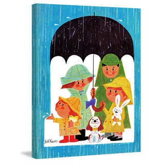 Marmont Hill 'Happy Family in the Rain' by Curtis Painting Print on Canvas
