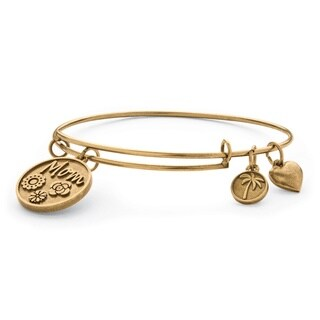 Mom Charm Bangle Bracelet in Antique Gold Tone Tailored