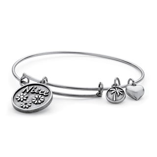 Niece Charm Bangle Bracelet in Antique Silvertone Tailored