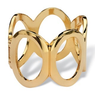 Polished Oval-Link Hinged Bangle Bracelet in Gold Tone (60mm) Bold Fashion