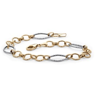 Diamond-Cut Oval and Round Interlocking Link Two-Tone Bracelet in 14k Yellow and White Gol