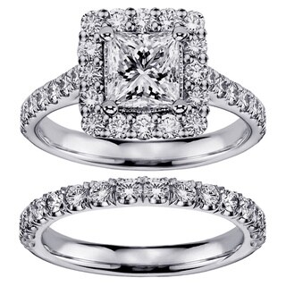 Platinum 2 1/5ct TDW Princess-cut Square Halo Diamond Bridal Ring Set (G-H, SI1-SI2)