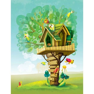 Marmont Hill 'Tree House' by Curtis Painting Print on Canvas - Multi-color
