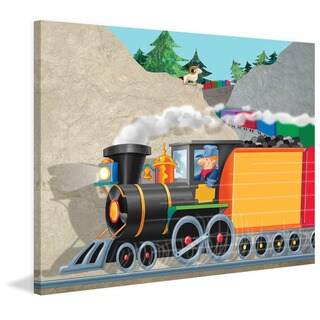 Marmont Hill 'Mountain Train' by Curtis Painting Print on Canvas - Multi-color (2 options available)