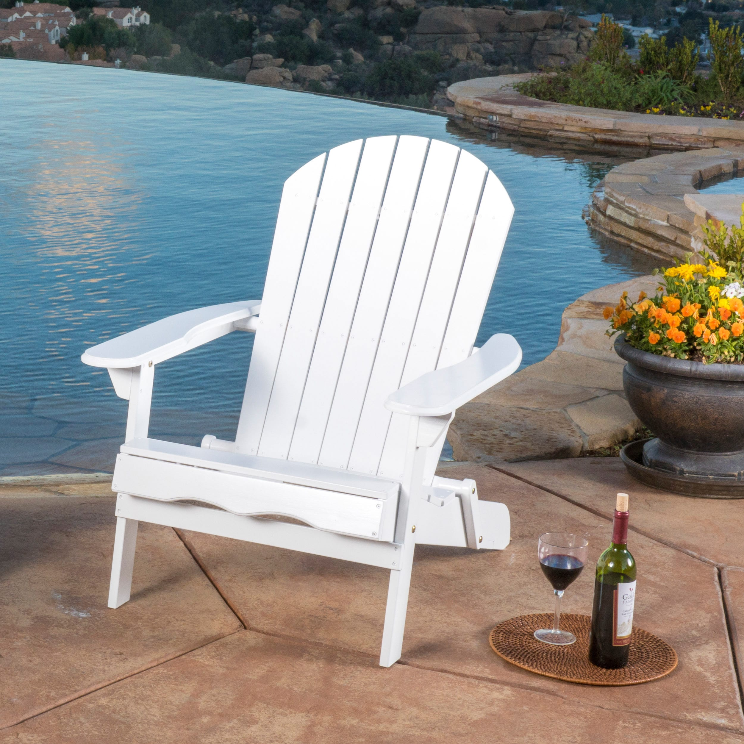 Hanlee Outdoor Rustic Acacia Wood Folding Adirondack Chair