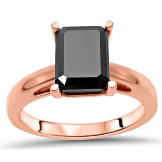Noori Certified 14k Rose Gold 2 1/2ct TDW Emerald-cut Black Diamond Engagement Ring
