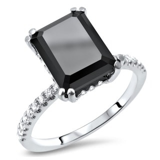 Noori Certified 14k White Gold 2 7/8ct TDW Emerald-cut Black Diamond Engagement Ring (G-H, SI1-SI2)