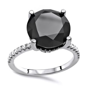 Noori Certified 14k White Gold 3 1/10ct TDW Round-cut Black Diamond Engagement Ring - White G-H