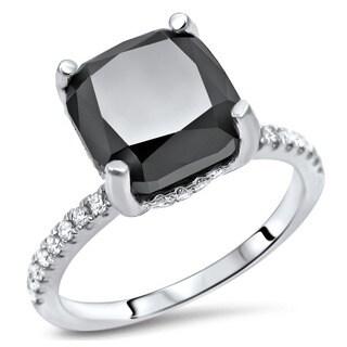 Noori Certified 14k White Gold 2 7/8ct TDW Cushion-cut Black Diamond Engagement Ring (G-H, SI1-SI2)