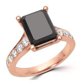 Noori Certified 14k Rose Gold 3 1/5ct TDW Black Diamond Engagement Ring (G-H, SI1-SI2)
