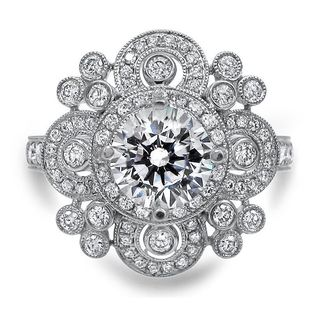 Noori Certified 14k White Gold 1 2/5ct TDW Vintage Style Enhanced Diamond Engagement Ring (G-H, SI1-SI2)