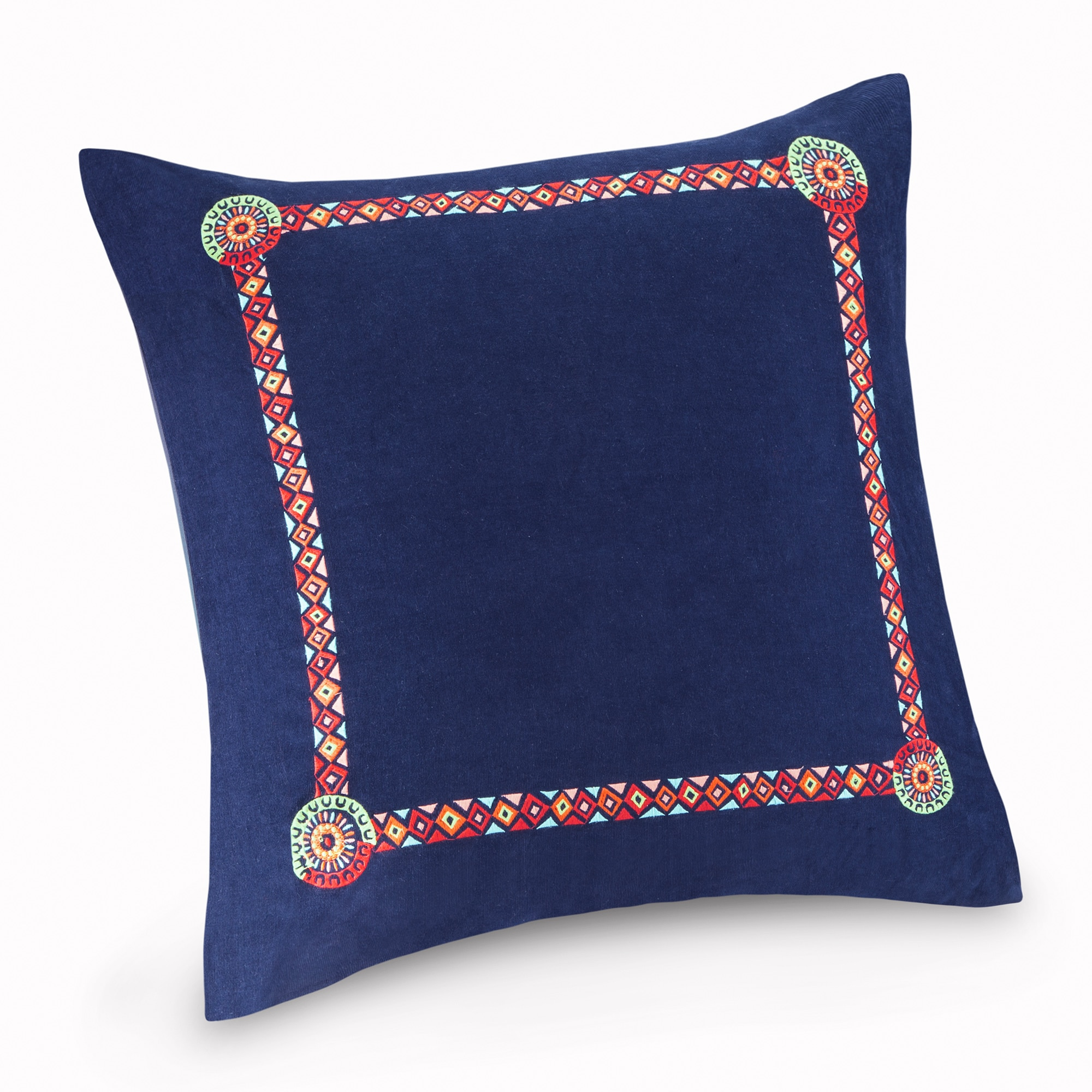 Josie By Natori Hollywood Boho Blue Embroidered Cotton 26 X 26 Inch Euro Sham With Hidden Zipper Closure Overstock 11702262