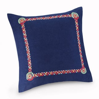 Josie by Natori Hollywood Boho Blue Embroidered Cotton 26 x 26-inch Euro Sham with Hidden Zipper Closure