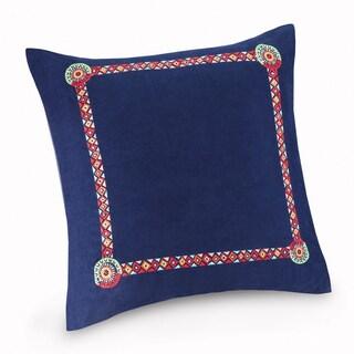 Josie by Natori Hollywood Boho Blue Embroidered Cotton 26 x 26-inch Euro Sham with Hidden Zipper Closure