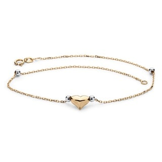 PalmBeach Puffed Heart Two-Tone Ankle Bracelet in 14k Gold Tailored