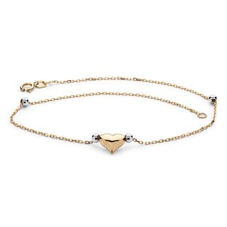 Puffed Heart Two-Tone Ankle Bracelet in 14k Gold Tailored