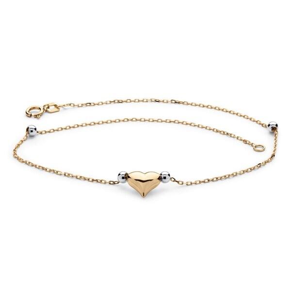 Shop Puffed Heart Two-Tone Ankle Bracelet in 14k Gold ...