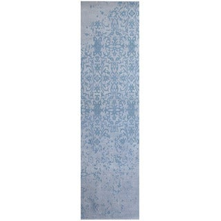 Herat Oriental Indo Hand-tufted Printed Erased Khotan Ivory/ Blue Runner (2'8 x 10')