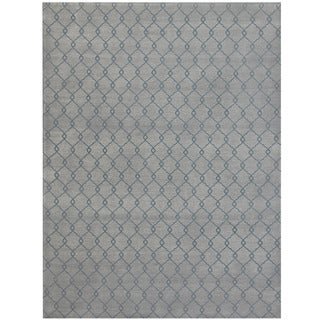 Herat Oriental Indo Hand-tufted Printed Tibetan Ivory/ Grey Wool Area Rug (8' x 10')