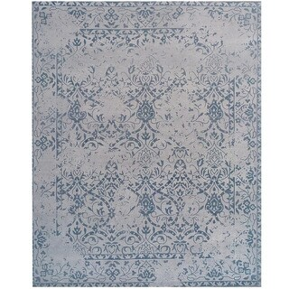 Herat Oriental Indo Printed Hand-tufted Erased Khotan Ivory/ Blue Wool Area Rug (7'6 x 9'6)