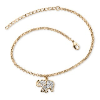 "PalmBeach 18k Gold-Plated Two-Tone Filigree Elephant Ankle Bracelet Adjustable 9"" to 11"" Tailored"