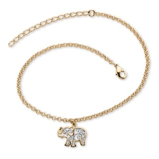 "18k Gold-Plated Two-Tone Filigree Elephant Ankle Bracelet Adjustable 9"" to 11"" Tailored"