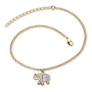 "Gold-Plated Two-Tone Filigree Elephant Ankle Bracelet Adjustable 9"" to 11"" Tailored"