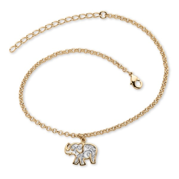 tone extension charm gold anklet bracelet ankle yellow ql plated dp two elephant filigree