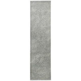 Herat Oriental Indo Hand-tufted Tibetan Ivory/ Grey Wool Runner (2'8 x 10')