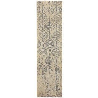 Herat Oriental Indo Hand-tufted Printed Erased Ivory/ Grey Wool Runner (2'8 x 10')