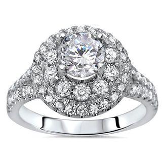 Noori Certified 14k White Gold 1 1/2ct TDW Enhanced Diamond Engagement Ring (G-H, SI1-SI2)
