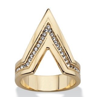 PalmBeach Pave Crystal Chevron Cocktail Ring MADE WITH SWAROVSKI ELEMENTS 14k Gold-Plated Bold Fashion