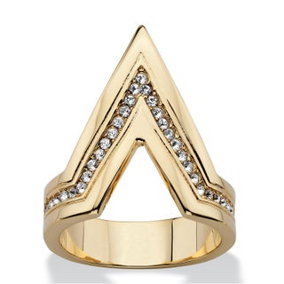 Pave Crystal Chevron Cocktail Ring MADE WITH SWAROVSKI ELEMENTS 14k Gold-Plated Bold Fashi (5 options available)