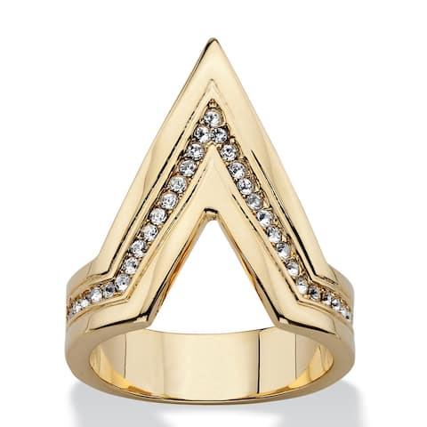 Pave Crystal Chevron Cocktail Ring MADE WITH SWAROVSKI ELEMENTS 14k Gold-Plated Bold Fashi