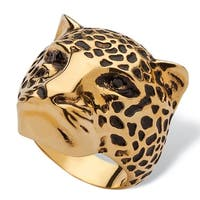 Black Pave Crystal Leopard Fashion Ring 14k Yellow Gold-Plated Bold Fashion