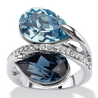 PalmBeach Sky and London Blue Pear-Cut Crystal Silvertone Bypass Cocktail Ring MADE WITH SWAROVSKI ELEMENTS Color Fun