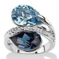 Sky and London Blue Pear-Cut Crystal Silvertone Bypass Cocktail Ring MADE WITH SWAROVSKI E
