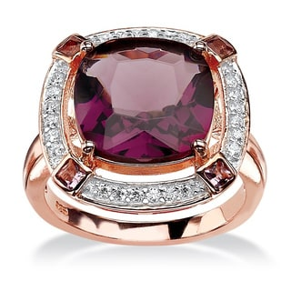 PalmBeach .22 TCW Cushion-Cut Simulated Amethyst & CZ Halo Cocktail Ring in Rose Gold-Plated Sterling Silver Color Fun
