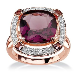 .22 TCW Cushion-Cut Simulated Amethyst & CZ Halo Cocktail Ring in Rose Gold-Plated Sterlin