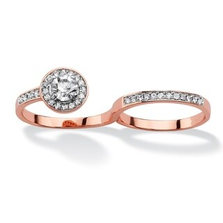 Round Pave Crystal Halo Two-Finger Ring Rose Gold-Plated Bold Fashion