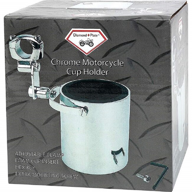 Diamond Plate Chrome Motorcycle Cup Holder (silver) (Metal)