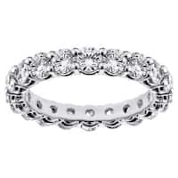 Platinum 2 1/4 - 2.9ct TDW Round-cut Diamond Eternity Wedding Band