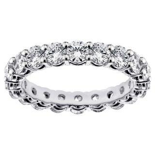 Platinum 2 1/4 - 2.9ct TDW Round-cut Diamond Eternity Wedding Band (More options available)