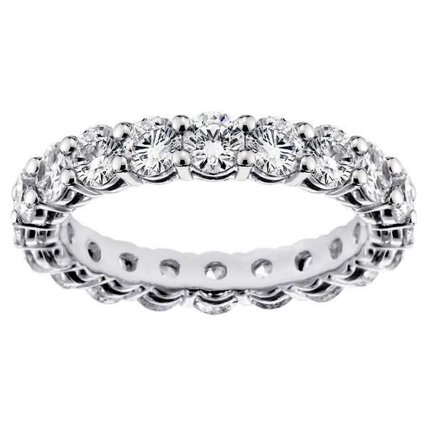 Platinum 2 1/4 - 2.9ct TDW Round-cut Diamond Eternity Wedding Band
